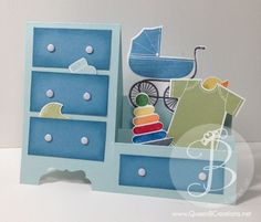 baby dresser card using Stampin' Up! Something for baby stamp set. PDFs tutorial on blog post