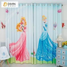 DIHINHOME Home Textile Kid's Curtain DIHIN HOME 3D Printed Princess Frozen Blackout Curtains,Window Curtains Grommet Curtain For Living Room ,39x102-inch,2 Panels Included Baby Room Curtains, Pink Curtains, Printed Curtains, Cool Curtains, Grommet Curtains, Window Curtains, Room Window, Drapery, Kids Blackout Curtains