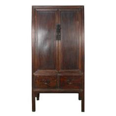 19th Century Chinese Two-Door and Two-Drawer Tall Cabinet