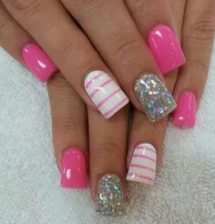 Hot pink, white, and silver glitter polish.