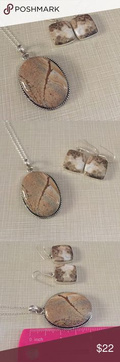 Large  jasper set pendant earrings free chain Pendant is substantial not a light one inlay beautiful stone 1'wide to over 2' long chain is approximately 18/19' earrings are 1'3/4long very earthy Jewelry Necklaces