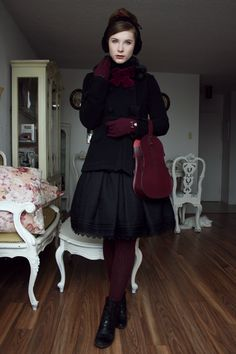 Went lace shopping with my mother Skirt: Innocent World Coat: Mary Magdalene Bag: Jane Marple Tights: Mondor Boots: Cobb Hill Gloves: Accessorize Earmuffs: Ardène
