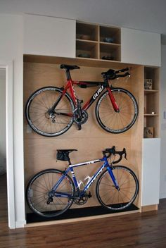 Cool Indoor Bike Racks Design As Smart Bike Storage Solutions For Small Spaces Ideas. Excellent Wooden Platform Design For Home Bikes Storage Ideas Combined With Cubby Holes Accessories Storage As Great Home Indoor Bikes Storage Design.