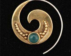 Bella ottone orecchini - gioielli tribali - orecchini gemma orecchini - gioielli in ottone - spirale - nativo Jewery - etniche monili