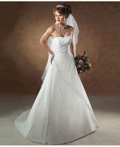 Chiffon Princess Draped Strapless Wedding Dress - Fancyladies.com