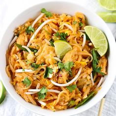 Chicken Pad Thai - a quick, easy and healthy family favorite that's better than take out!