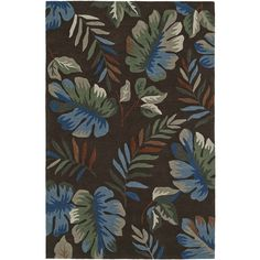 Addison Nassau Tropical Palm /Multi Plush Area Rug
