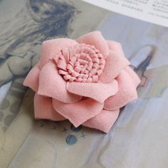 90mm felted fabric flower corsage brooch Lovely Pink by Blinkeye. $7.50, via Etsy.