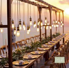 mini lights arent the only way to add impact to your wedding hanging edison bulbs is a great idea - Snow Wedding, Wedding Tips, Rustic Wedding, Festival Decorations, Table Decorations, Edison Lighting, Edison Bulbs, Wooden Canopy, Santorini Wedding