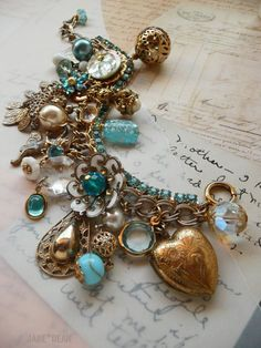 Aqua Rhinestone Charm Bracelet by janedean on Etsy