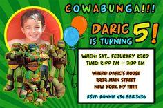 Teenage Mutant Ninja Turtles (TMNT) Birthday Invitation, Personalized | thepartybean - Digital Art  on ArtFire
