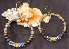 African Beaded Circular Dangle Earrings by EmarDesigns on Etsy, $12.00