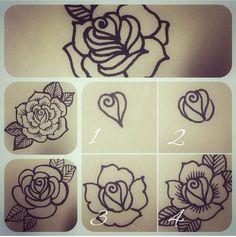 Learn how to henna. Henna. Henna flower. Step by step henna