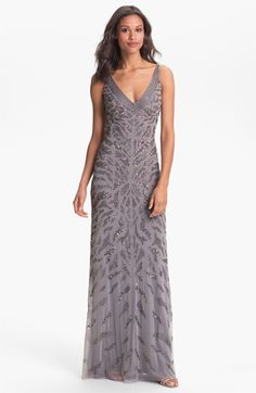 Adrianna Papell Embellished V-Neck Mesh Gown available at #Nordstrom Dress Beaded Long