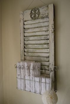 A shabby chic way to enjoy old shutters! New Ways With Old Window Shutters Repurposed Furniture, Diy Furniture, Repurposed Shutters, Furniture Plans, Salvaged Doors, Furniture Design, Refurbished Furniture, Bedroom Furniture, Painted Furniture