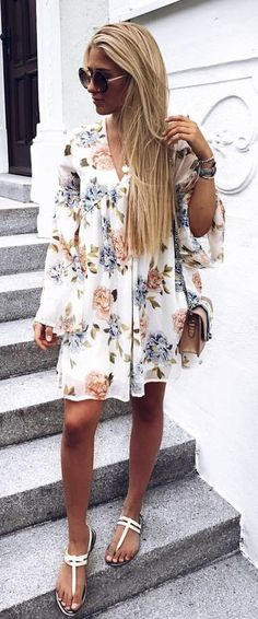 #summer #outfits  White Floral Dress + White Sandals