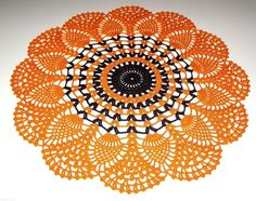 "Crochet Doily Pineapple Lace, Orange Black 16 1/2"", Halloween, new handmade"