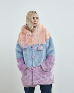 Lazy Oaf Pastel Panel Fur Coat - Everything - Categories - Womens