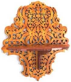 Jungle shelf, scroll saw fretwork pattern