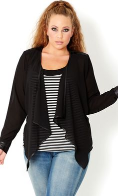 CITY CHIC - SEXY DRAPE JACKET  - Women's plus size fashion