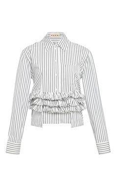Pinstripe Ruffle Peplum Shirt by Marni - Moda Operandi