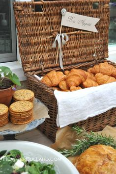 Wicker Basket filled with Croissants and a jewel adorned paper Flag. Lovely.