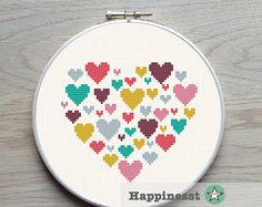 Modern cross stitch pattern heart, heart of hearts, small, love, PDF pattern ** instant download**