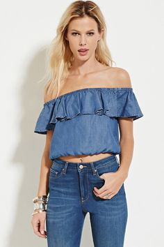 FOREVER 21 Chambray Off-the-Shoulder Top
