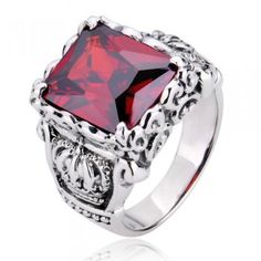 925 Sterling Silver Crown Design Gemstone Ring Gift For Men