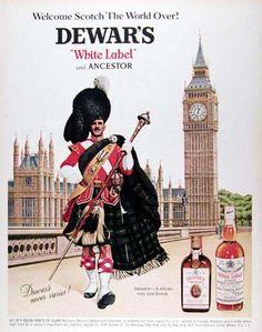Dewars Whiskey White Label 1967 Highlander - Mad Men Art: The 1891-1970 Vintage Advertisement Art Collection