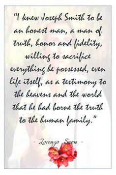Didi @ Relief Society: Lorenzo Snow - Chapter 23 - The Prophet Joseph Smith, handout Mormon Quotes, Lds Quotes, Uplifting Quotes, Quotable Quotes, Inspirational Quotes, Mormon Beliefs, Snow Quotes, Relief Society Lessons, Joseph Smith