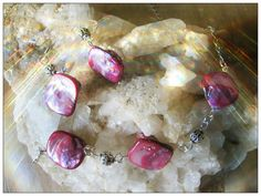 Handmade Silver Jewelry Set with Pink Seashell by IreneDesign2011