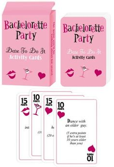 Dare Cards No bachelorette party is complete without embarrassing the bride to be! What we like about this game is you can make it as tame or as wild as the group wants to get. Dare cards can be purchased or you can have the girls all throw in a few dares. We've chosen not to post any of our dare game pictures here - what happens at the bachelorette stays at the bachelorette!