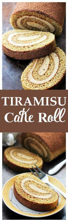 Tiramisu Cake Roll   www.diethood.com   Espresso flavored cake sponge brushed…