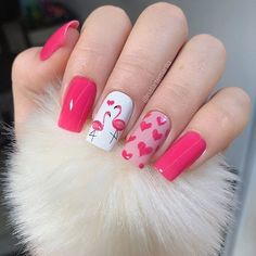 Amazingly Cute Valentine's Day Nail Art Ideas- Bliss Degree - - Valentine's Day is right around the corner and getting your nails done is just part of the fun. Here are 32 Amazingly Cute Valentine's Day Nail Art Ideas for Your Romantic Day. Pretty Nail Art, Cute Nail Art, Cute Nails, Pink Nail Art, Pink Nails, My Nails, Color Nails, Flamingo Nails, Valentine Nail Art