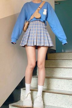 Korean Skirt Outfits, Korean Summer Outfits, Cute Skirt Outfits, Cute Outfits With Jeans, Plaid Outfits, Cute Casual Outfits, Sweater Outfits, Looks Kawaii, Preppy Summer Outfits