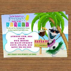 Cute Summer Olaf invitation! This site has so many wonderful things for a Frozen party!