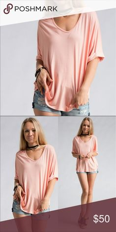 LAST ONE slouchy t shirt Peach color. Lightweight and super comfortable. Made in the USA❤️❤️🇺🇸🇺🇸 Tops Tees - Short Sleeve