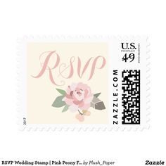 RSVP Wedding Stamp   Pink Peony Flower Boho style wedding postage stamps feature RSVP in script with an elegant pink peony flower with rustic bird feather accent. Soft color scheme includes shades of pink, green, gray, and gold. Light ivory printed background color can be customized.
