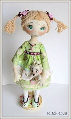 Mary w/bear Cloth Art Doll