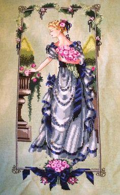 Garden Beauty, Mirabilia. Colour conversion, 32 ct hand dyed lugana by Silkweaver.