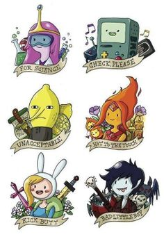 Adventure time tattoos. Ill only get BMO, Fionna, and ML