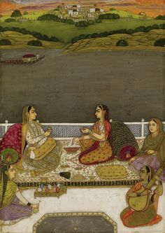 Portrait of Ladies on a Terrace, Mughal, Possibly Lucknow, India Mughal Miniature Paintings, Mughal Paintings, Indian Paintings, Indian Traditional Paintings, Traditional Art, India Art, Textiles, Islamic Art, Art World