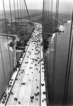 Opening day. The Golden Gate Bridge was opened to pedestrians on May 27, 1937. The next day it officially opened to vehicular traffic.