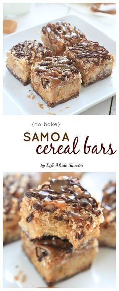 {No-Bake} Samoa Peanut Butter Cereal Bars from - -- @LifeMadeSweeter