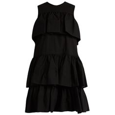 MSGM Tiered-ruffle cotton-poplin dress ($598) ❤ liked on Polyvore featuring dresses, black, above the knee dress, layered ruffle dress, over the knee dresses, flounce dress and cotton poplin dress
