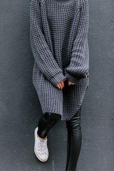 oversized cozy knit, leather leggings & converse kick #stye #fashion