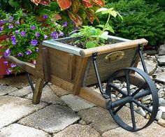 Amish Mini Wooden Wheelbarrow Planter
