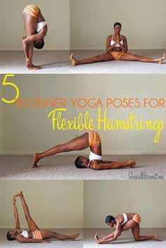 5 beginner yoga poses for hamstring flexibility Cool yoga poses aside, there are actual health benefits that come with loose hamstrings.: Are you interested in Yoga? Look at this Yoga CUSTOM NAME SHIRTS and brand them with your (friends) name Beginner Yoga, Yoga Poses For Beginners, Advanced Yoga, Ashtanga Yoga, Vinyasa Yoga, Yoga Flow, Yoga Inspiration, Yoga Fitness, Health Fitness