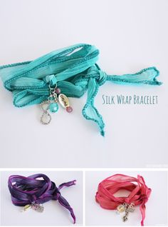 Making Silk Wrap Bracelets is such a fun craft! These bracelets are made to be personalized! They make such great gifts! Learn how to make them with this easy to follow tutorial. These DIY Silk Wrap Bracelets were created by my 9 year old daughter! Oh so pretty and oh so easy!
